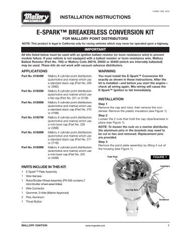 E spark breakerless conversion kit mallory marine mallory 61009m ignition conversion kit installation instructions jegs sciox Image collections