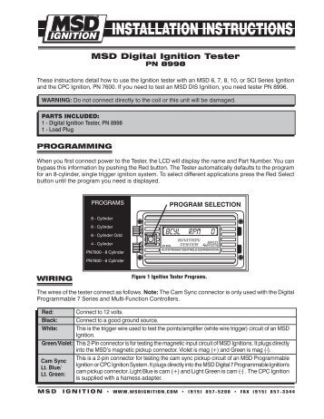 MSD 8998 Ignition Tester Installation Instructions - Jegs