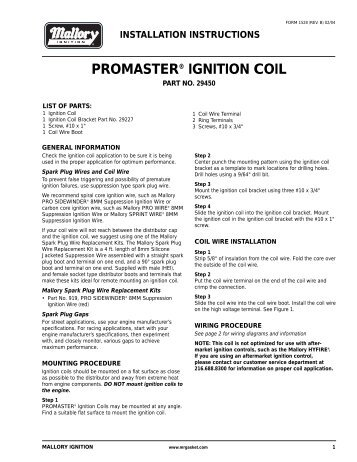 Mallory 29450 Ignition Coil Installation Instructions - Jegs