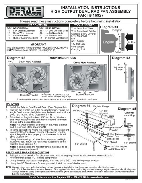 Installation Instructions High Output Dual Rad Fan