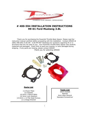 Airaid 400-594 Throttle Body Spacer Installation Instructions - Jegs