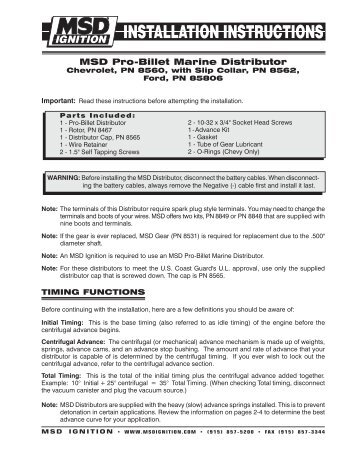 MSD 8737 RPM Module Selector Installation Instructions - Jegs