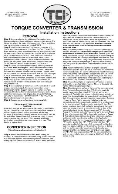 TORQUE CONVERTER & TRANSMISSION - Jegs