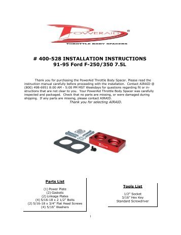 Airaid 400-528 Throttle Body Spacer Installation Instructions - Jegs