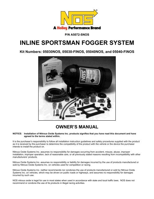 Nos 05040 Nitrous System Installation Instructions Jegs