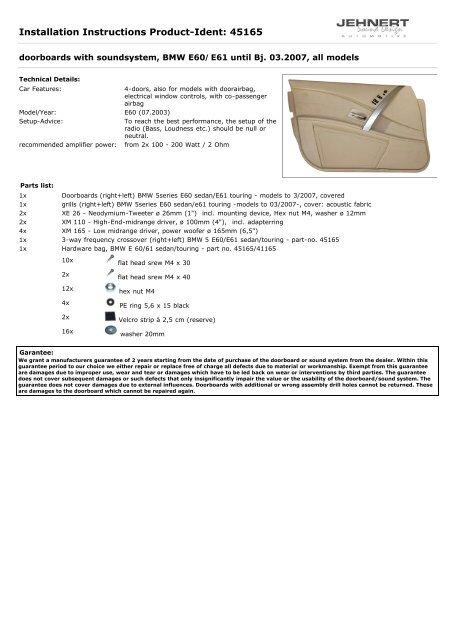Installation Instructions Product-Ident: 45165 - Jehnert