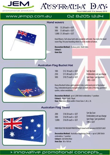 Australia Day Merchandise 2010 - JEM Promotional Products