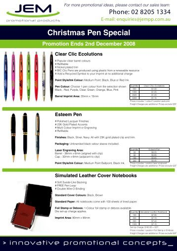 Christmas BIC Pen & Notebook Special - JEM Promotional Products