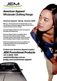 American Apparel clothing wholesale catalogue - JEM Promotional ...