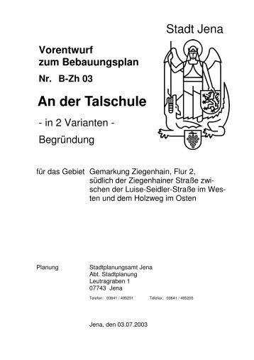 Begründung Vorentwurf - Jena