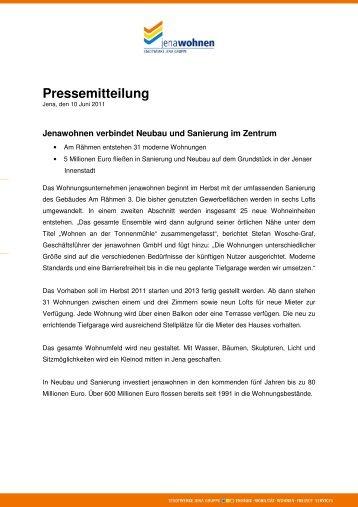 Pressemeldung vom 10. Juni 2011 - jenawohnen