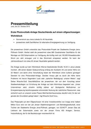 Pressemeldung vom 22. Oktober 2010 - jenawohnen