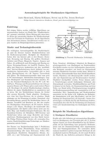 Anwendungsbeispiele fuer Musikanalyse ... - Jeroen Breebaart