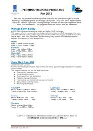 UPCOMING TRAINING PROGRAMS For 2013