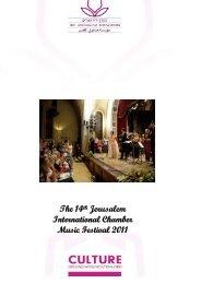 Chamber Music Festival - Reoprt 2011 - Jerusalem Foundation