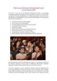 The Louis Edelstein Scholarship Fund - Jerusalem Foundation