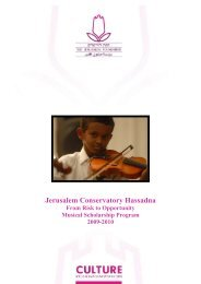 Jerusalem Conservatory Hassadna - Jerusalem Foundation