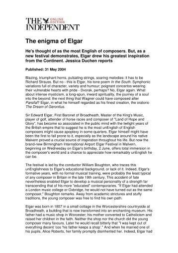 The enigma of Elgar - Jessica Duchen