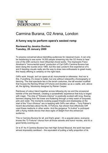 Carmina Burana, O2 Arena, London - Jessica Duchen