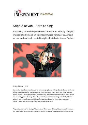 Sophie Bevan - Born to sing - Jessica Duchen