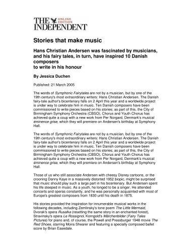 Stories that make music Hans Christian Andersen ... - Jessica Duchen