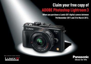 Claim your free copy of ADOBE Photoshop Lightroom3 - Panasonic