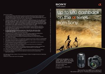 Up to £80 cashback on the series from Sony* - Jessops