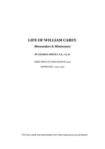 Life of William Carey by George Smith - The Jesus Army