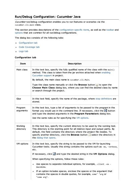 Run/Debug Configuration: Cucumber Java - JetBrains
