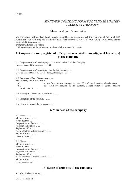 STANDARD CONTRACT FORM FOR PRIVATE LIMITED     - JETRO