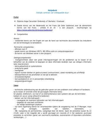 Helpdesk Voltijds contract van onbepaalde duur http://www.selor.be ...