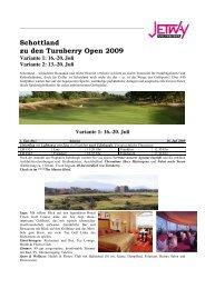 Schottland zu den Turnberry Open 2009 - bei Jetway Reisen!
