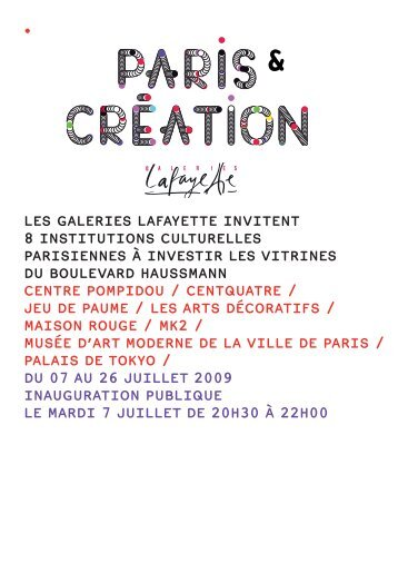 Les GaLeries Lafayette invitent 8 institutions ... - Jeu de Paume