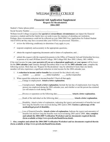 Financial Aid Application Supplement - William Jewell College