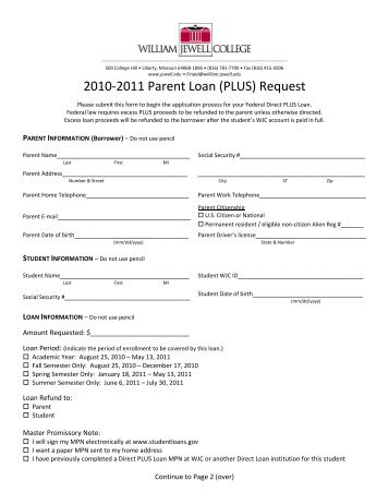 2010-2011 Parent Loan (PLUS) Request - William Jewell College