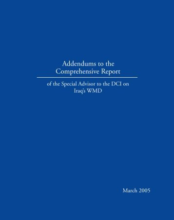 Comprehensive Report Addendums to the - Central Intelligence ...