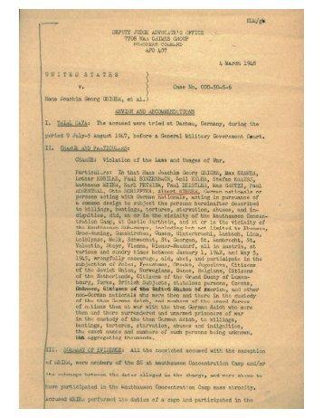 (US vs. Hans Joachim Geiger et al) Tried 5 Aug - Jewish Virtual Library