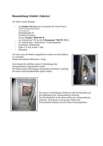 Bauanleitung Schalter Zuheizer - jewuwa