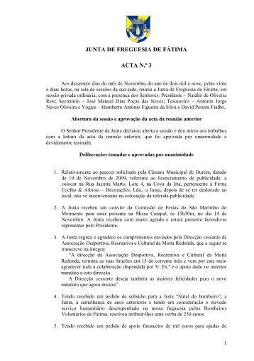 Acta nº 3 - Junta de Freguesia de Fátima