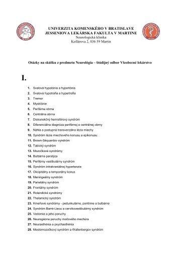 Všeobecné lekárstvo - Jesseniova lekárska fakulta - Univerzita ...