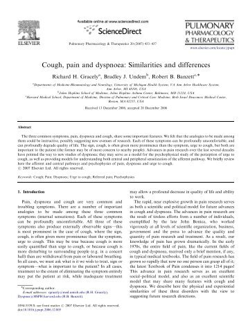 Cough, pain and dyspnoea: Similarities and differences