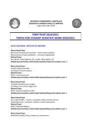 témy švoč 2010/2011 topics for student scientific work 2010/2011