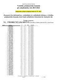Dodatočne prijatí k 1.7.2013 - Jesseniova lekárska fakulta
