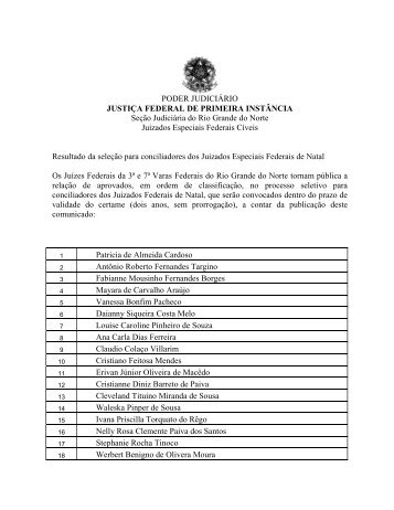 Resultado da seleção - Justiça Federal do Rio Grande do Norte
