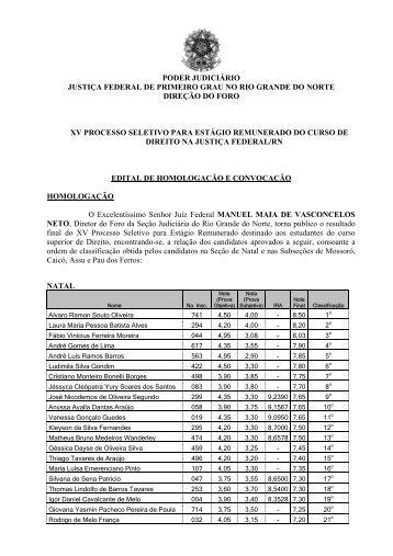 Resultado final - Justiça Federal do Rio Grande do Norte