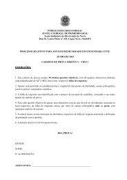 Caderno de prova objetiva de Engenharia Civil - prova tipo 1