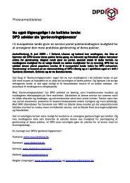 Pressemeddelelse now also available in the Baltics dansk - DPD
