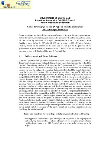 Notice Inviting Quotation (NIQ) For supply, installation - Jharkhand