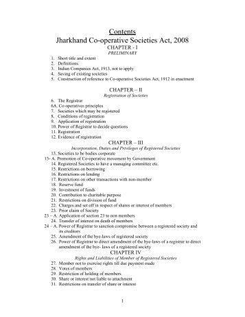 Contents Jharkhand Co-operative Societies Act, 2008