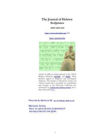 Saul as a Just King in Josephus - Journal of Hebrew Scriptures
